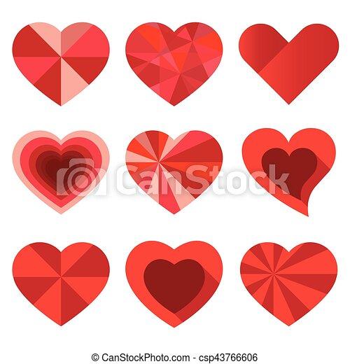 Hearts set for wedding and valentine design - csp43766606