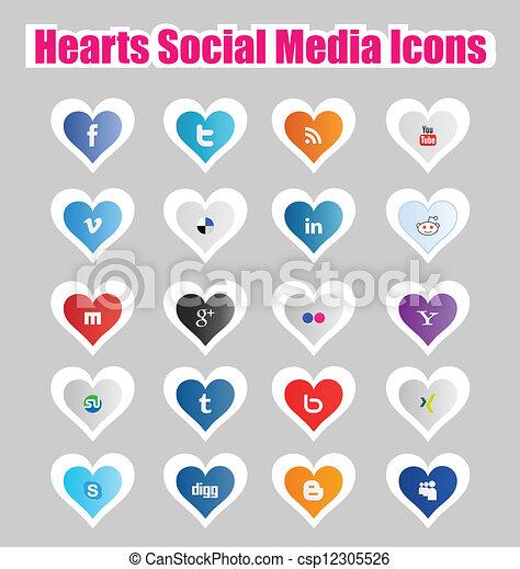Hearts Social Media Icons 1 - csp12305526