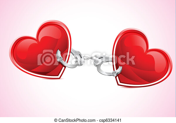 Clip Art Line Of Hearts : Hearts tied with hand cuff illustration of pair heart