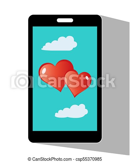 Hearts Valentine On Mobile Phone Mobile Phones With Hearts Symbols