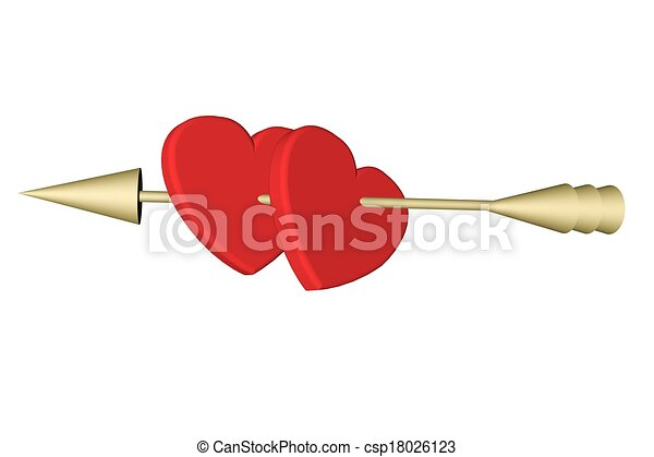 Clip Art Line Of Hearts : Hearts with cupid arrow two red pierced by clip