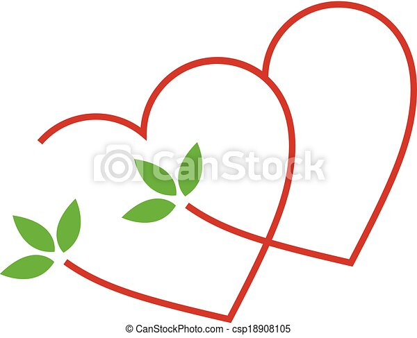 Hearts with leaves - csp18908105