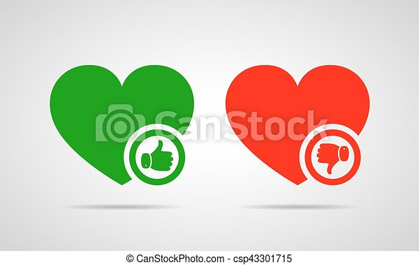 Hearts with thumb up and down. Vector illustration. - csp43301715