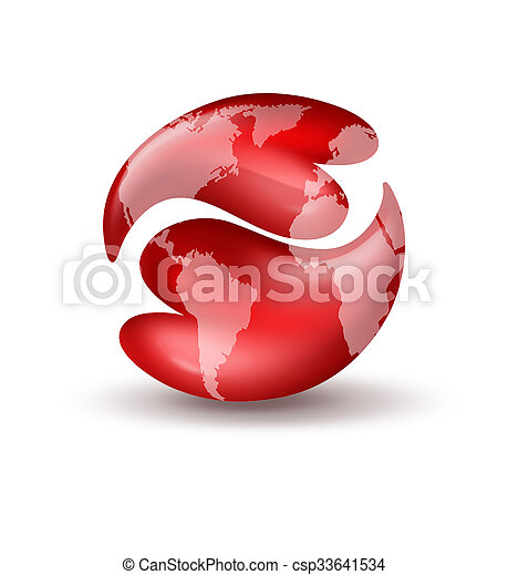 Hearts Yin Yang Symbol With World Map Two Red Hearts In The Shape