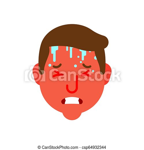 Heat and Temperature epidemic simpotomy head. Hothead Red face. Sweat on forehead. Cold and flu. Metaphor of problems and reduced health. pain medical health care concept - csp64932344