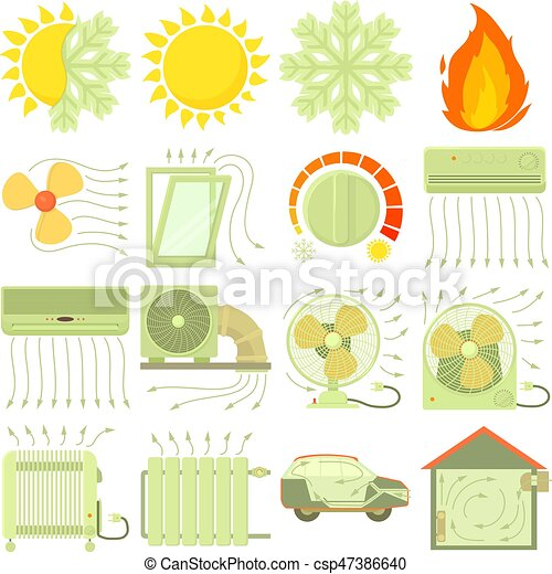 Heat cool air flow tools icons set, cartoon style - csp47386640