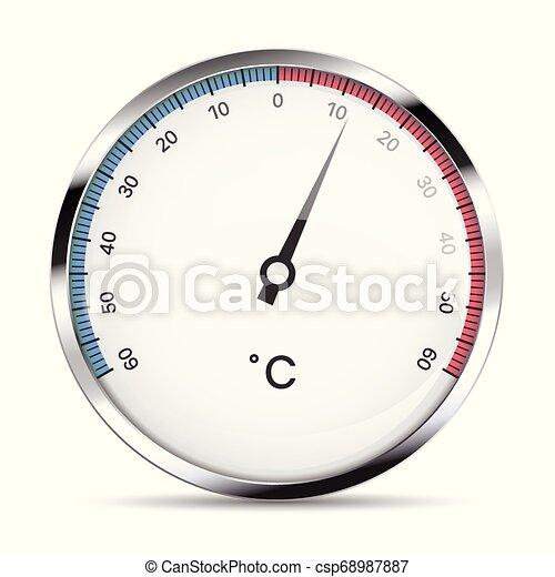 heat., thermomètre, métal, isolé, illustration, rond, réaliste, vecteur, degrés, celsius, mesure, blanc, froid, fond - csp68987887