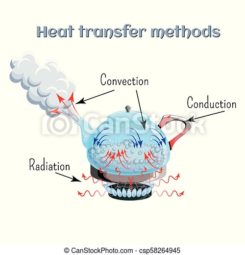 Heat transfer methods on example of water boiling in a kettler on gas stove top. Convection, conduction, radiation. - csp58264945