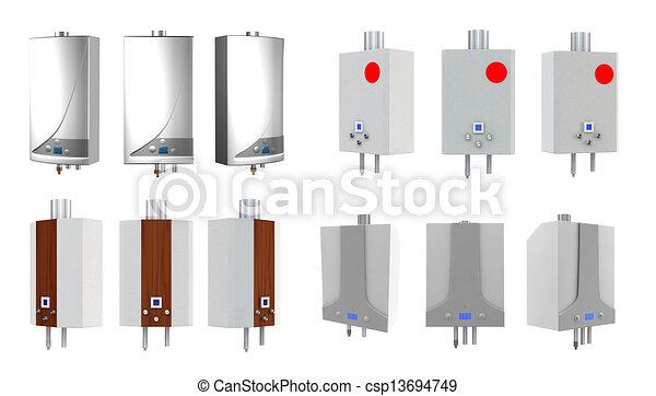 Heaters, gas. Hintergrund., weißes, gas, dampfkessel,... Zeichnung ...