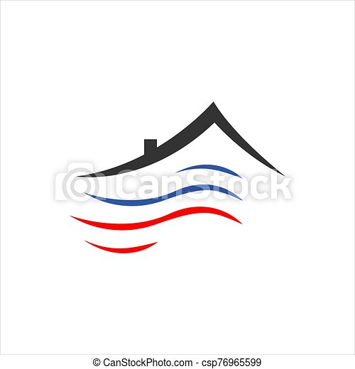 Heating and cooling hvac logo design vector business company. | CanStock | Hvac Drawing Company |  | Can Stock Photo