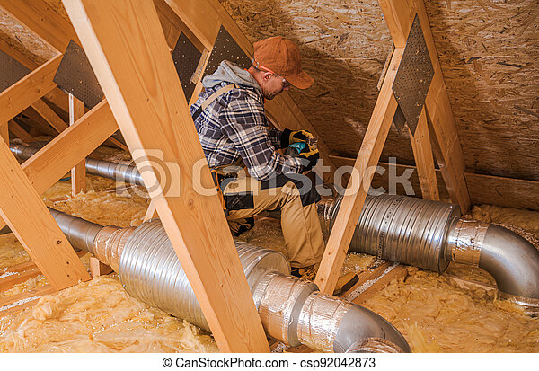 Heating and Cooling Technician Installing System Elements - csp92042873