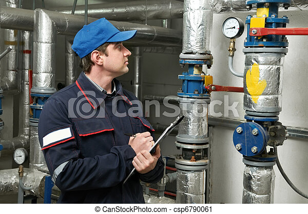 heating engineer repairman in boiler room - csp6790061