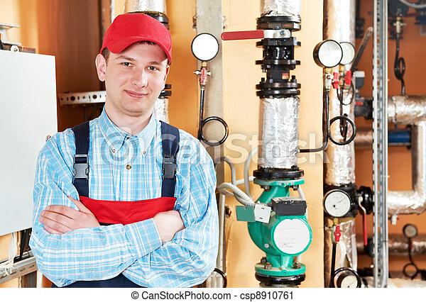 heating engineer repairman in boiler room - csp8910761