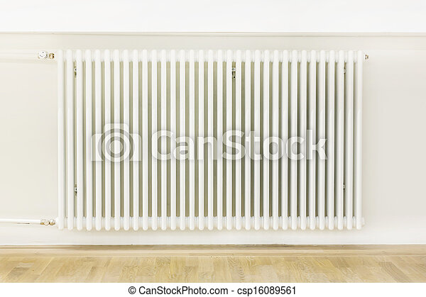 Heating system attached to a white wall - csp16089561