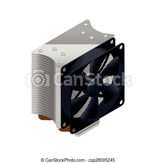 Heatsink for the processor detailed isometric icon - csp28005245
