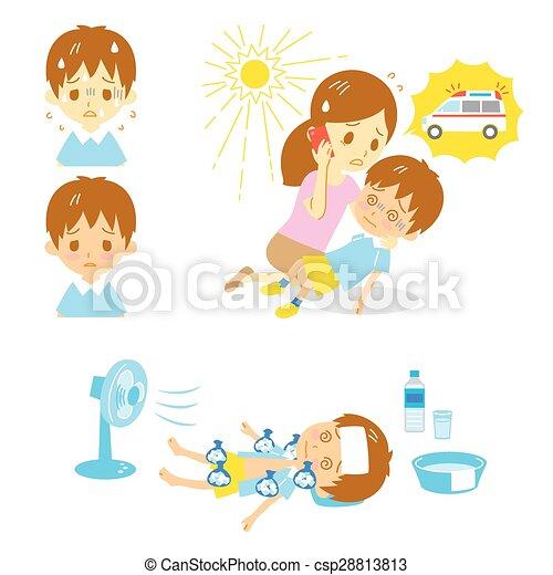 Heatstroke Ambulance First aid  - csp28813813