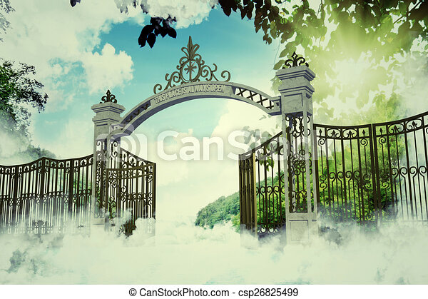 Heaven gate in an old illustration stock illustration ...