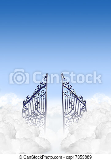Heavens gates in the clouds. A depiction of the gates to ...