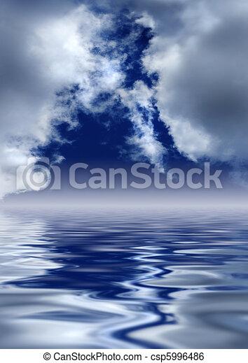 heaven's, gates., panorâmico, sobre, water., nuvens - csp5996486