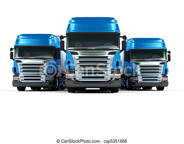Heavy blue trucks isolated on white background - csp5351686