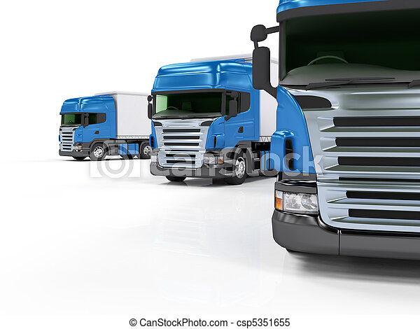Heavy blue trucks presentation isolated on white background - csp5351655