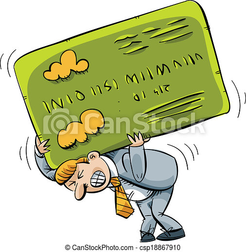 heavy credit card a cartoon businessman struggles to carrying an