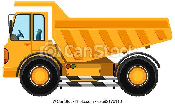 Heavy dump truck in cartoon style on white background - csp92176110