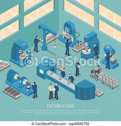 Heavy Industry Production Facility Isometric Poster Heavy