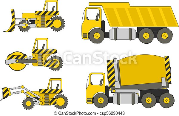 heavy machinery set of heavy construction machinery vector eps rh canstockphoto com  heavy construction equipment clipart