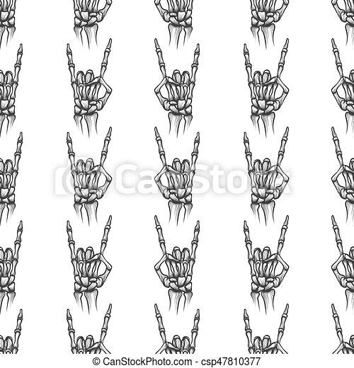 Heavy metal bones seamless pattern. Heavy metal bones hand horns ...