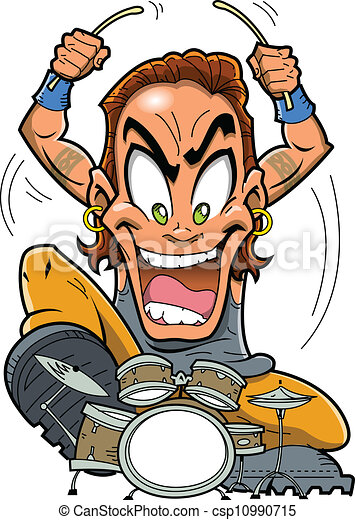 heavy metal drummer heavy metal rock drummer is a wild man playing rh canstockphoto com clipart drummer boy drummer birthday clipart