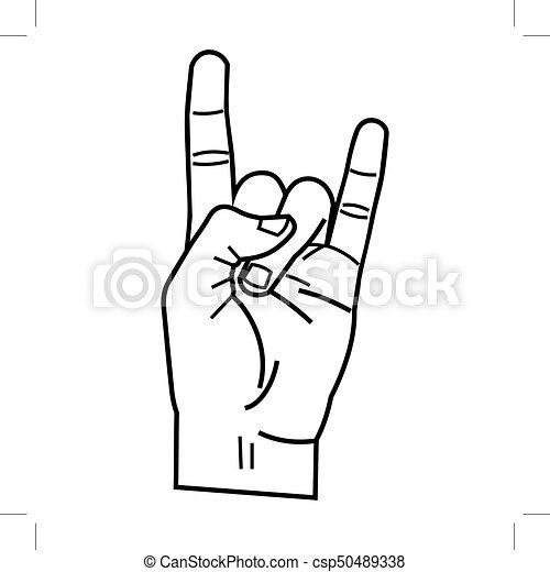 heavy metal hand linear style