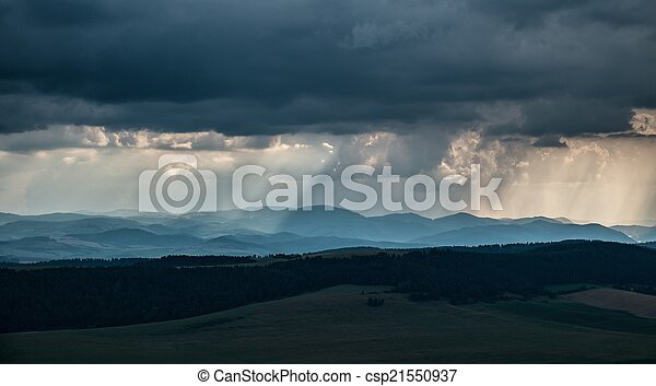 Heavy rain over hills - csp21550937