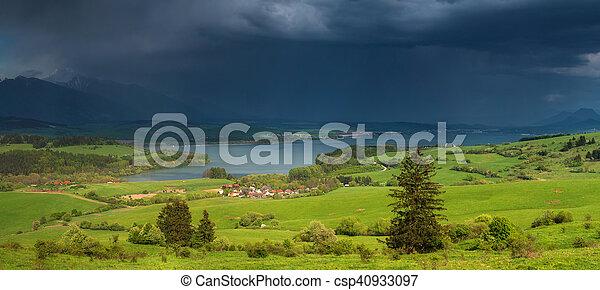 Heavy rain over lake - csp40933097