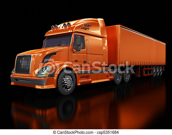 Heavy red truck isolated on black - csp5351684