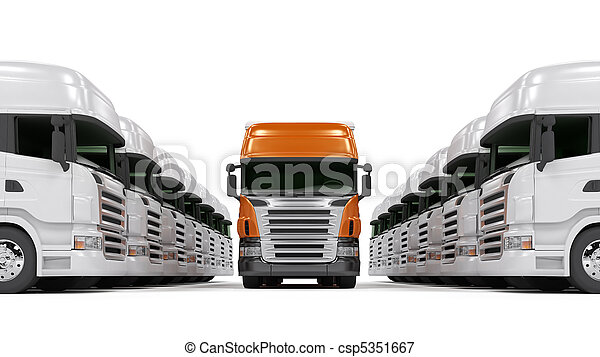 Heavy red trucks isolated on white - csp5351667