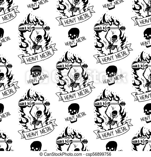 Heavy Rock Music Badge Vector Vintage Label With Punk Skull Seamless
