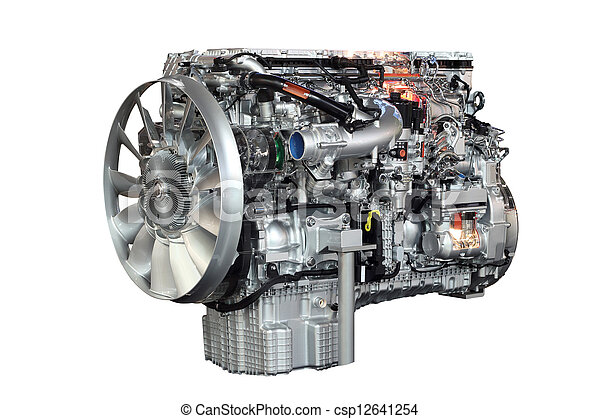 heavy truck engine isolated on white background - csp12641254