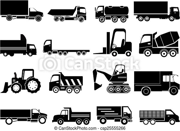 Heavy Vehicle Icons Set Vector Illustration