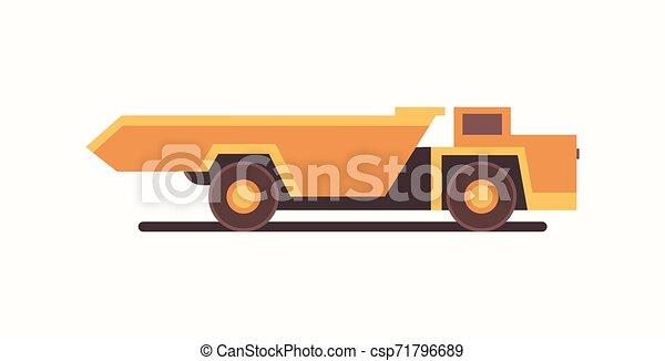 heavy yellow dumper truck industrial machine coal mine production professional equipment mining transport concept flat horizontal vector illustration - csp71796689