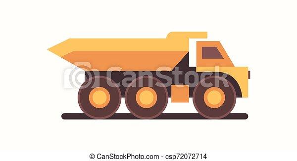 heavy yellow dumper truck industrial machine coal mine production professional equipment mining transport concept flat horizontal - csp72072714