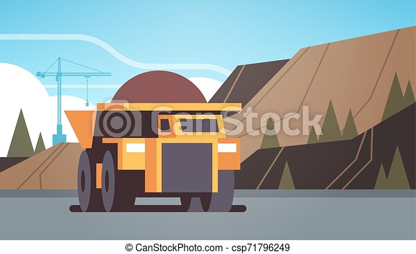 heavy yellow dumper truck professional equipment working on coal mine production mining transport concept opencast stone quarry background flat horizontal - csp71796249