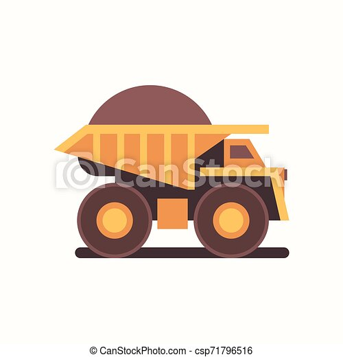 heavy yellow dumper truck with coal industrial machine production useful minerals mine professional equipment mining transport concept flat horizontal - csp71796516