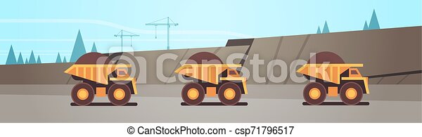 heavy yellow dumper trucks professional equipment working on coal mine production mining transport concept opencast stone quarry background flat horizontal - csp71796517