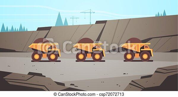 heavy yellow dumper trucks professional equipment working on coal mine production mining transport concept opencast stone quarry background flat horizontal - csp72072713