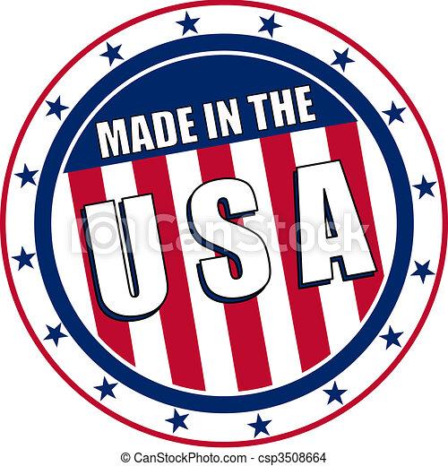 Hecho en la calcomanía circular de Estados Unidos - csp3508664