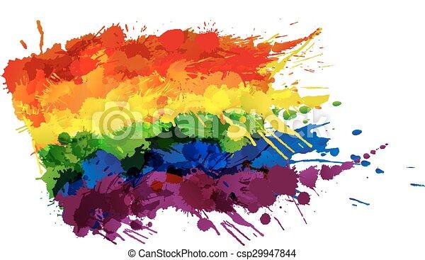 Bandera gay o LGBT hecha de salpicaduras coloridas - csp29947844