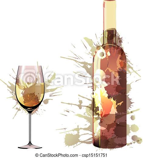 Botella y vaso de vino hechos de salpicaduras coloridas - csp15151751