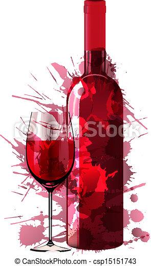 Botella y vaso de vino hechos de salpicaduras coloridas - csp15151743