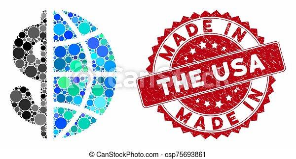 hecho, empresa / negocio, rasguñado, collage, global, estados unidos de américa, estampilla - csp75693861